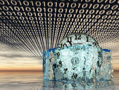 Time in melting ice with binary code — Stock Photo