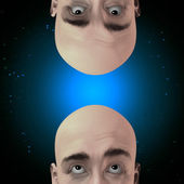 Two men gaze with stars — Stock Photo