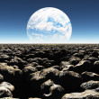 Rocky Landscape with planet or earth with terraformed moon in the distance — Stock Photo