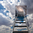 Ladder into hole in heaven — Stock Photo