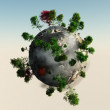 Foto Stock: Small Planet with trees