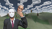 Człowiek usuwa twarz do ujawnienia maski pod spodem w surrealistyczny krajobraz — Zdjęcie stockowe