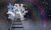 Ladder to the sky leads into day — Stock Photo