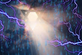 Stars of David in Stormy Sky — Stock Photo