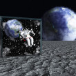 Stock Photo: Box on lunar like surface contains astronaut and space