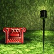 Red Chair with microphone — Stock Photo