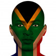 Stock Photo: South African flag superimposed upon mans face