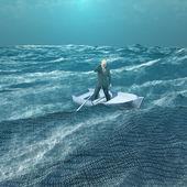 Küçük tekne ikili okyanusta başıboş adam — Stok fotoğraf