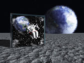 Box on lunar like surface contains astronaut and space — Stock Photo