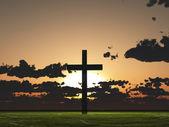 Sunset or sunrise with cross — Stock Photo