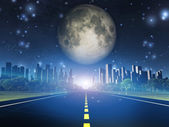 Highway to city and full moon — Stock Photo