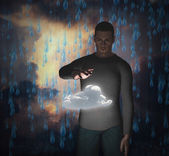 Man with power over raincloud — Stock Photo