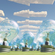 Mass of bulb heads pointing in direction of arrow clouds — Stock Photo