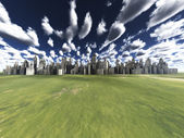 City in grassland — Stock Photo