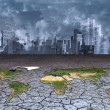 Earth sits in dried cracked mud before metropolis — Stockfoto