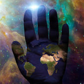Earth hand galactic — Foto de Stock