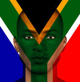 South African flag superimposed upon mans face — Stock Photo