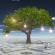 Tree with light bulbs grows out of US currency surface — Zdjęcie stockowe
