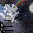 Ladder to Hole in Night Sky Reveals Day Time Skies  — Stock Photo