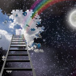 Stock Photo: Ladder to Hole in Night Sky Reveals Day Time Skies