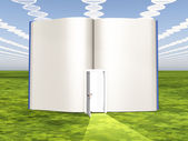 DNA clouds with open book of life — Stock Photo