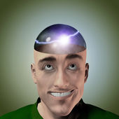 Lightning inside mans head — Stock Photo