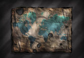 World Map on old distressed Paper — Stock Photo