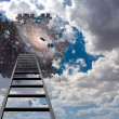 Puzzle Piece Hole in Sky and Ladder — Stock Photo