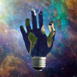Light Bulb Hand Earth — Stock fotografie