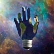 Light Bulb Hand Earth — Stock Photo