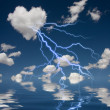 Heart Shaped Cloud With Thunderbolt — Stock Photo