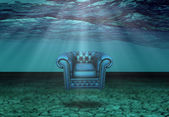 Submerged Chair in Submerged Desert Floats — Stock Photo
