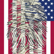 US Dollars Finger Impression and AmericFlag — Foto Stock #36924137