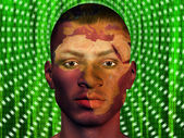 Afircan Male with Africa superimposed and binary code — Stock Photo