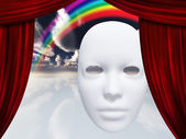 White mask and curtains — Stock Photo