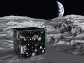 Box on lunar surface contains space — Stock Photo