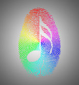 Rainbow Music Finger Print — Stock Photo