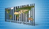 Världen binärt streckkod — Stockfoto