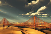 Golden Gate Bridge in desolate future — Stock Photo