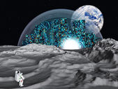 Lunar city Earthrise — Stock Photo