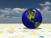 Earth Focus Americas on Euro Surface — Stock Photo