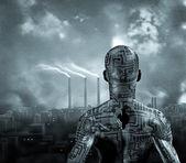 Human and city — Stock Photo
