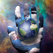 Earth and hand — Stock Photo