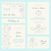 Invitation card set in pastel colors. — Stock Vector