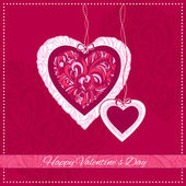 Valentine Day Card with ornamental hearts and greeting text — Stock Vector