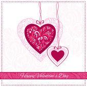 Alla hjärtans dag-kort med dekorativa hjärtan och hälsningstext — Stockvektor