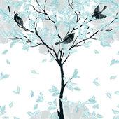 Decorative background with trees — Cтоковый вектор