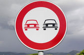 Road signs. No overtaking — Stock Photo