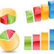 Royalty-Free Stock Photo: Bar Pie Chart in 2D and 3D