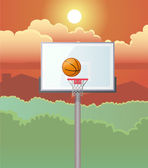 Basketball and Board with Trees and Sky Background — Stock Photo